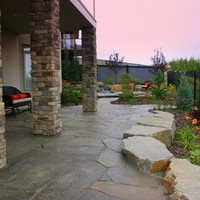 Estate landscaping including patio design, water features and flower garden ideas.