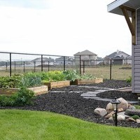 Acreage landscaping design including walkways and garden pictures.