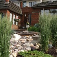 Mature lot garden design including garden pictures with water features.