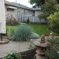 Backyard planning for bungalow landscaping including walkways, patio design and flower garden ideas.