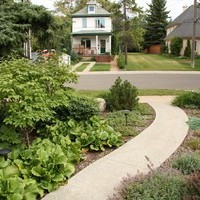 Mature lot garden design plan including walkways and flower garden ideas.